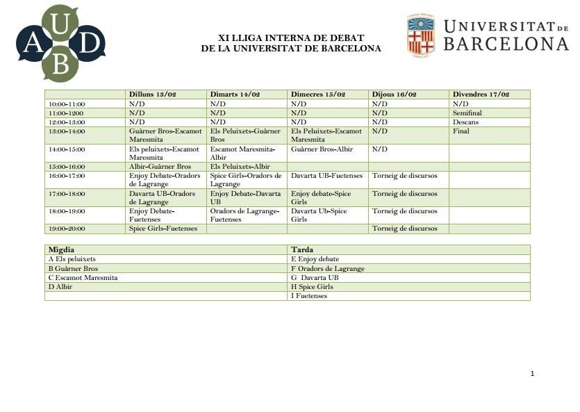 horaris XI Lliga Interna de Debat UB